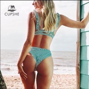 COPY - CupShe Green & White Striped Bikini Swimsu…